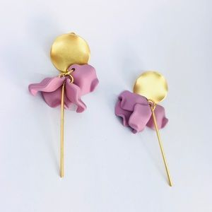 New! Purple Pink Floral Bar Drop Earrings Gold